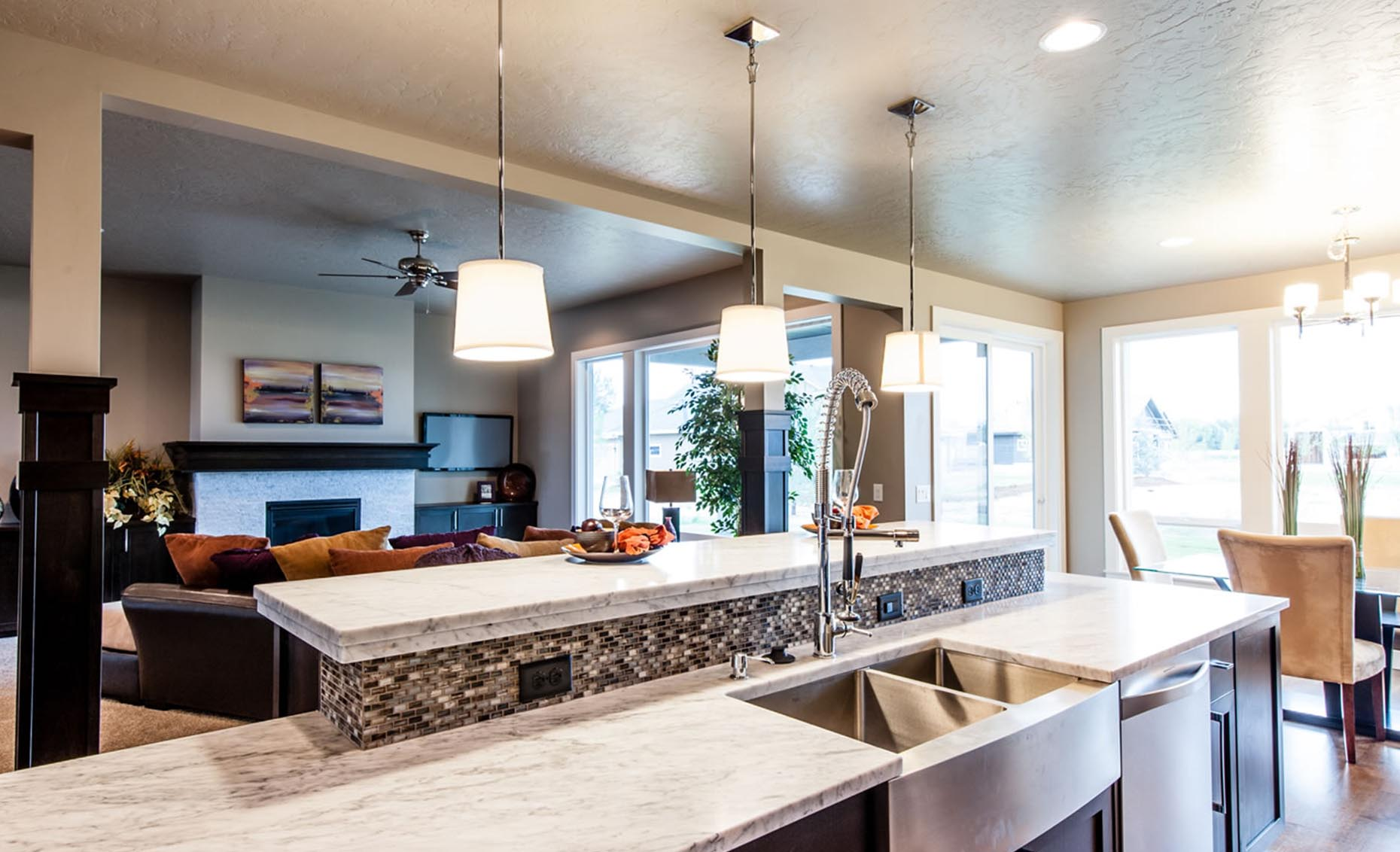 The Braveland House Kitchen Island and Living Room