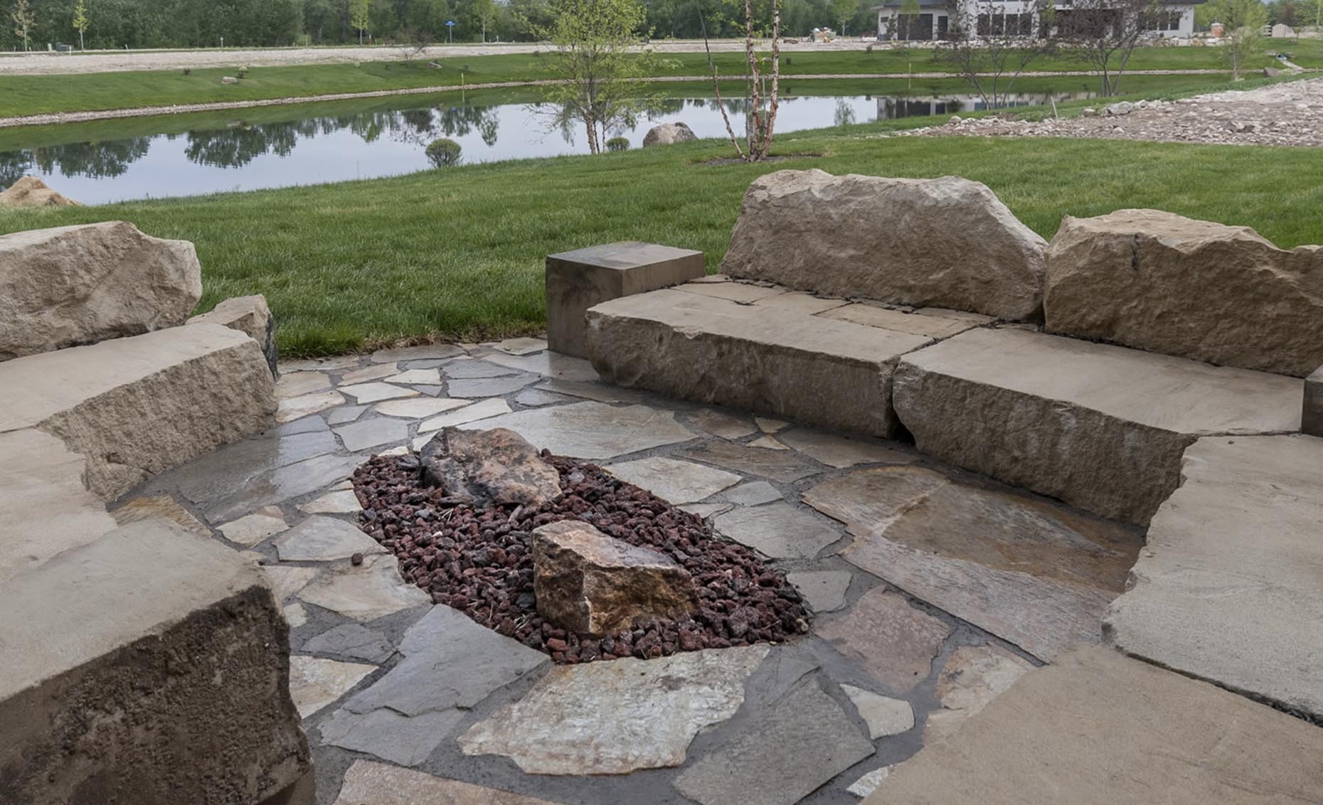 The Salmon Falls House Backyard Patio Furniture Made of Rocks