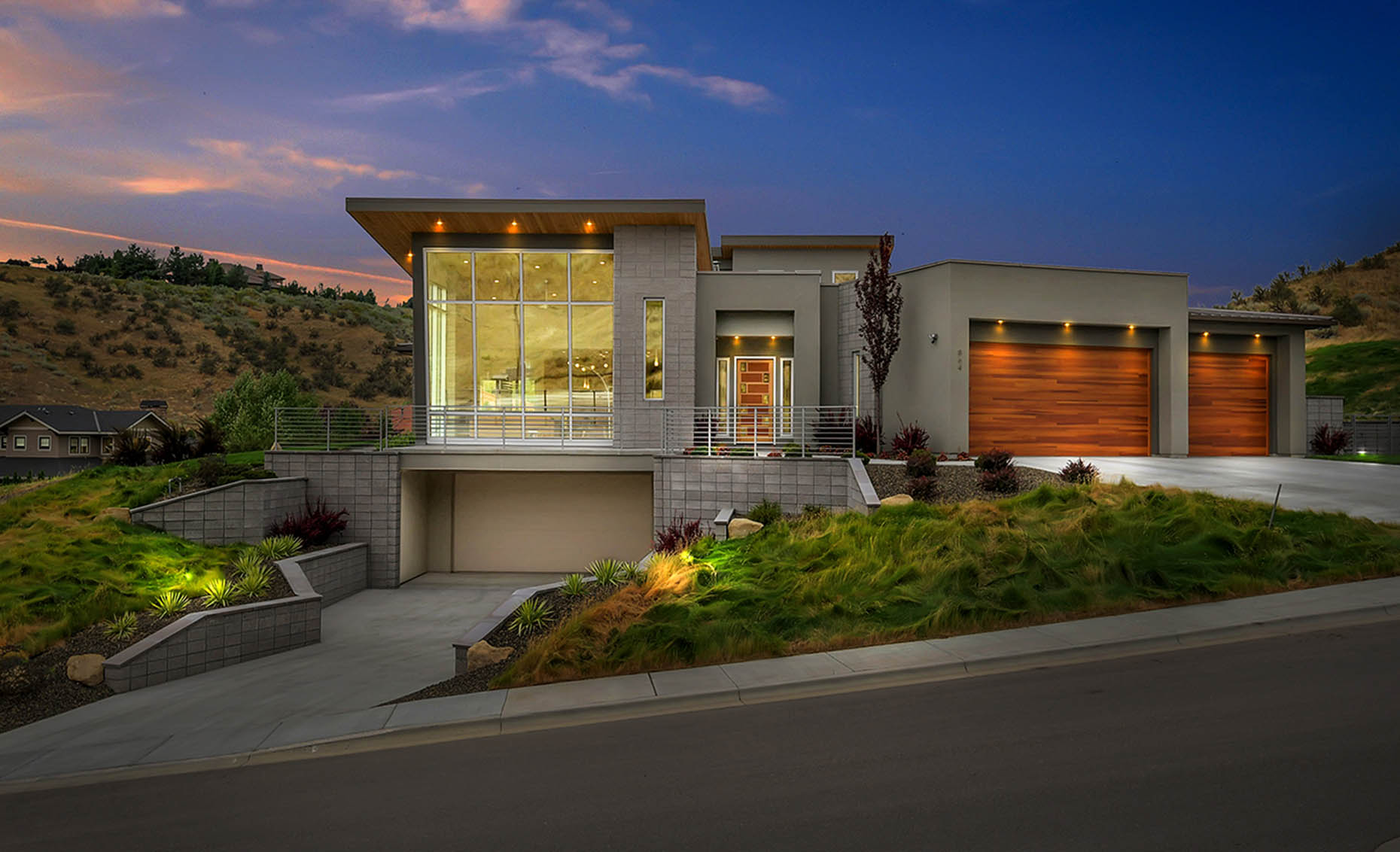 The Nature View Custom Home at Sunset