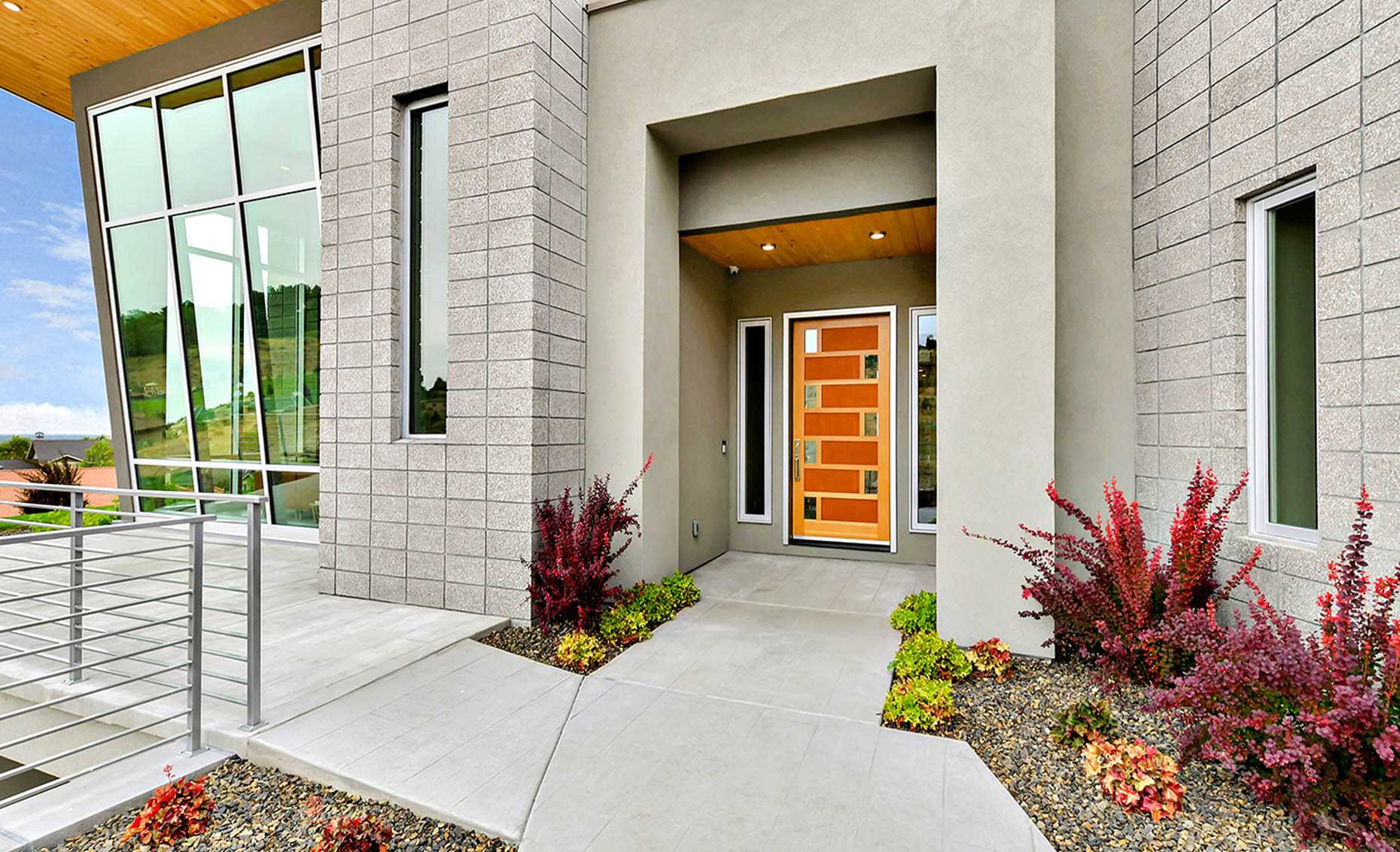 The Nature View Custom Home Front Entrance