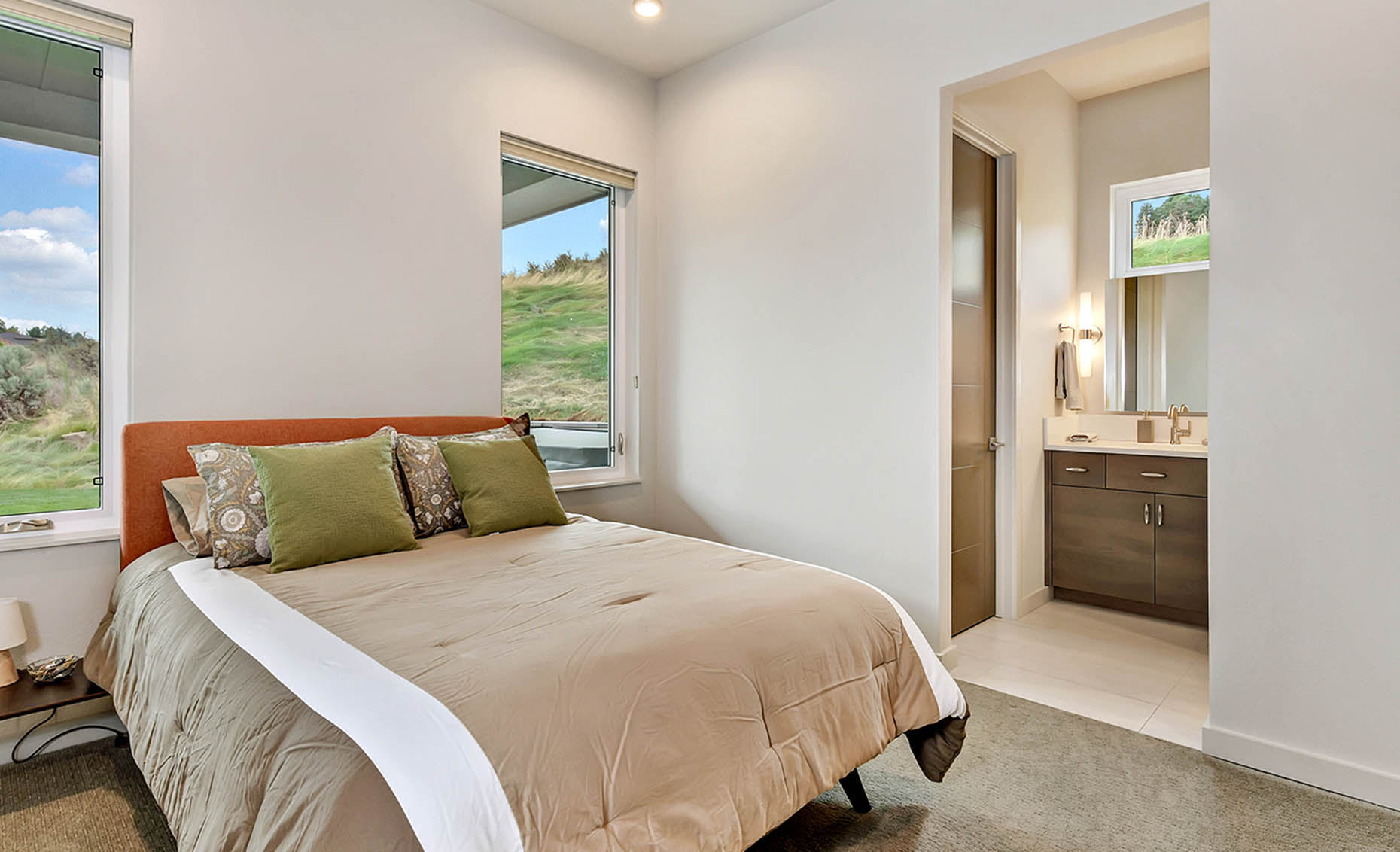 The Nature View Custom Home Bedroom and Bathroom